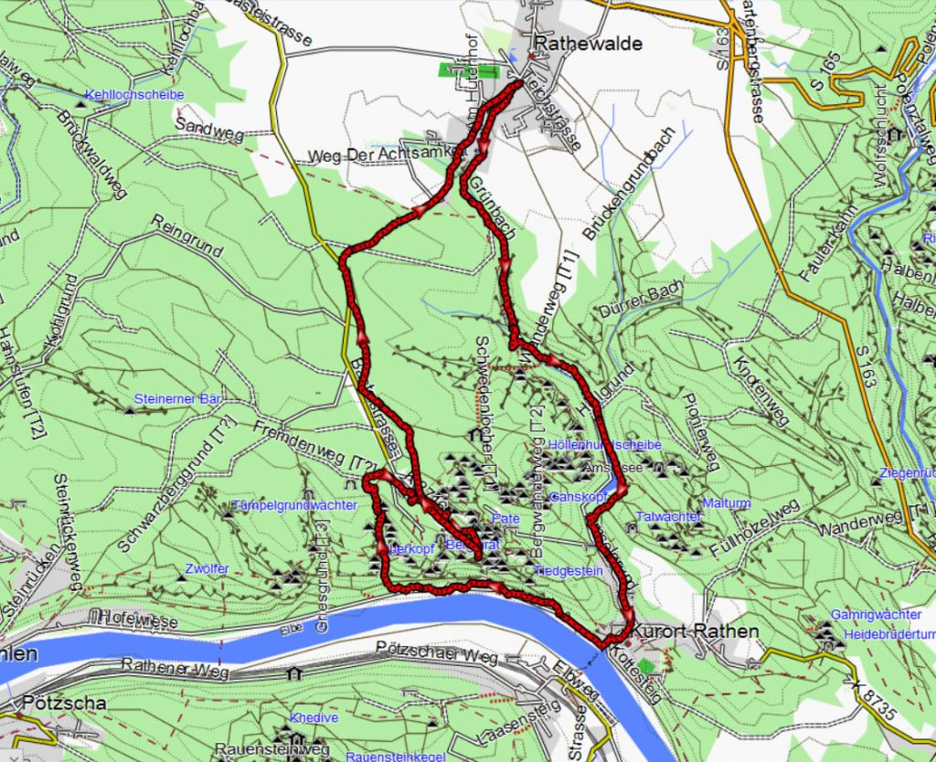 unser GPS-Track auf einem OpenStreet Map Kartenausschnitt – Copyright: Creative Commons Attribution Share Alike-Lizenz 2.0