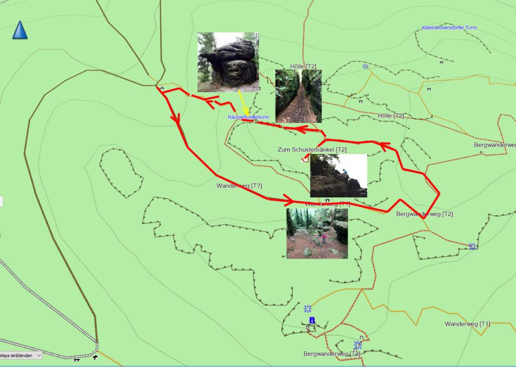 Der Weg über den Kleinhennersdorfer Stein auf dem Kartenausschnitt einer Open Street Map Karte - Copyright: Creative Commons Attribution Share Alike-Lizenz 2.0